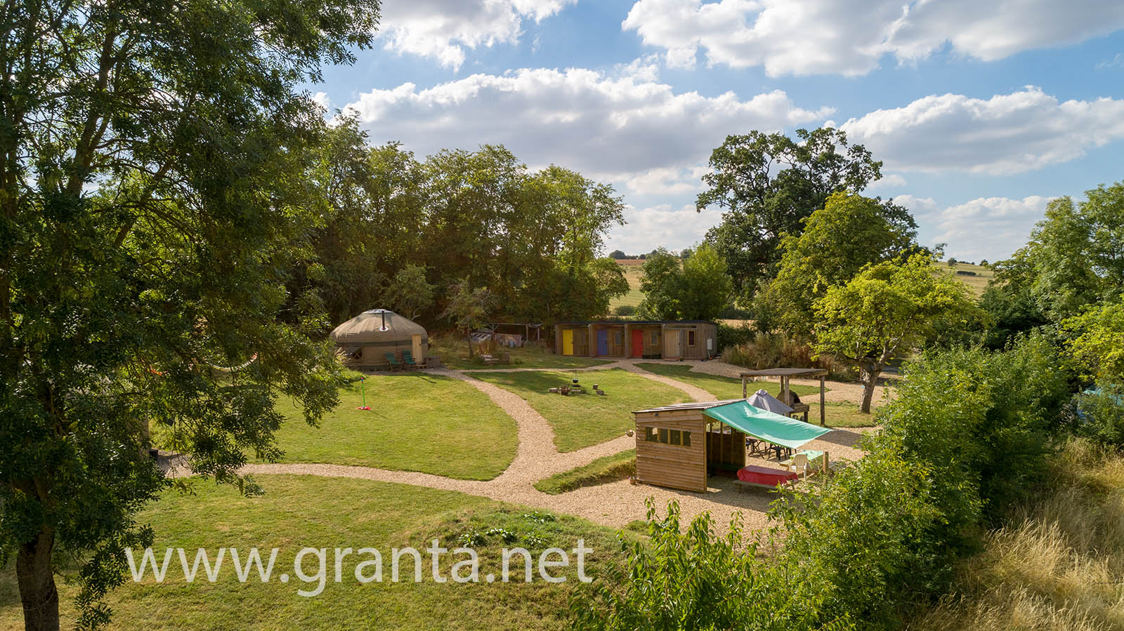 Drone photo of Campden Yurts glamping site