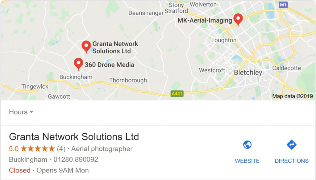 Google maps business listing for an aerial photographer in Buckingham