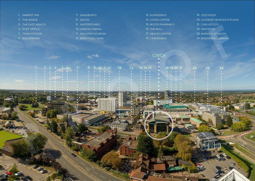Aerial photo of Bracknell with points of interested highlighted. Taken by Granta Network Solutions