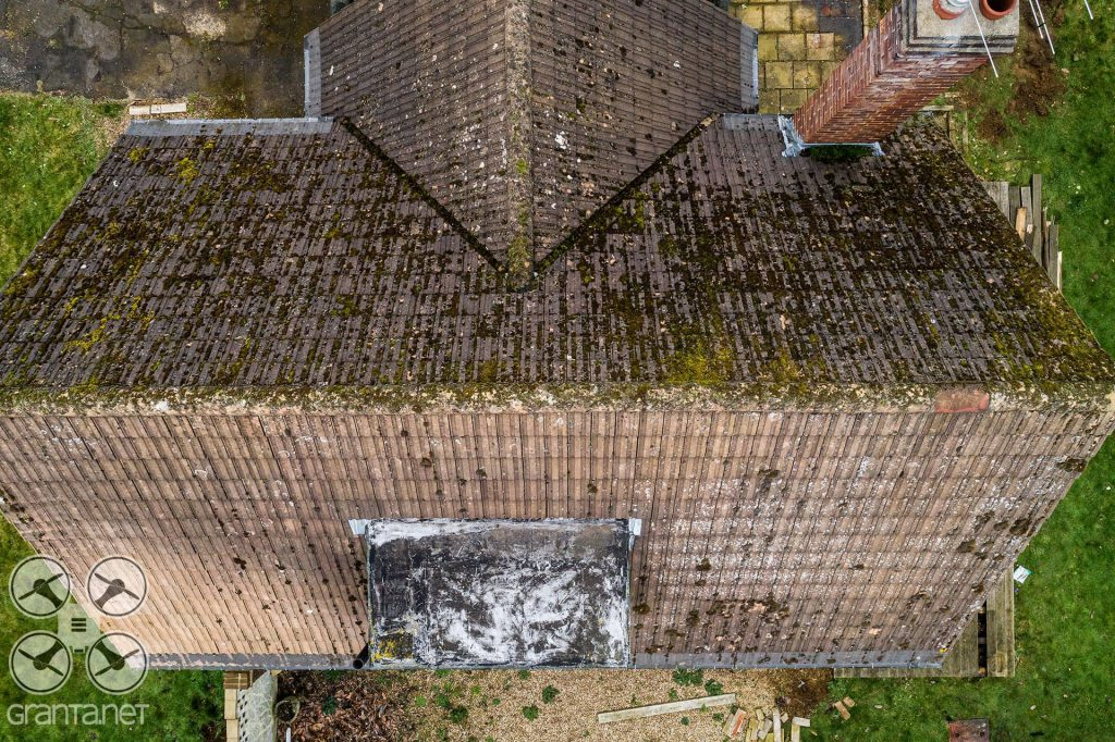 Drone roof inspection image from a house in Buckinghamshire