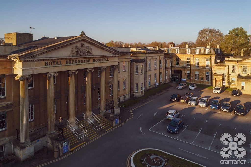 Drone photo of Royal Berkshire Hospital